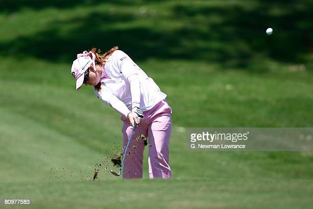 Paula Creamer hits a shot on the 9th hole during the third round of the SemGroup Championship presented by John Q Hammons on May 3 2008 at Cedar...