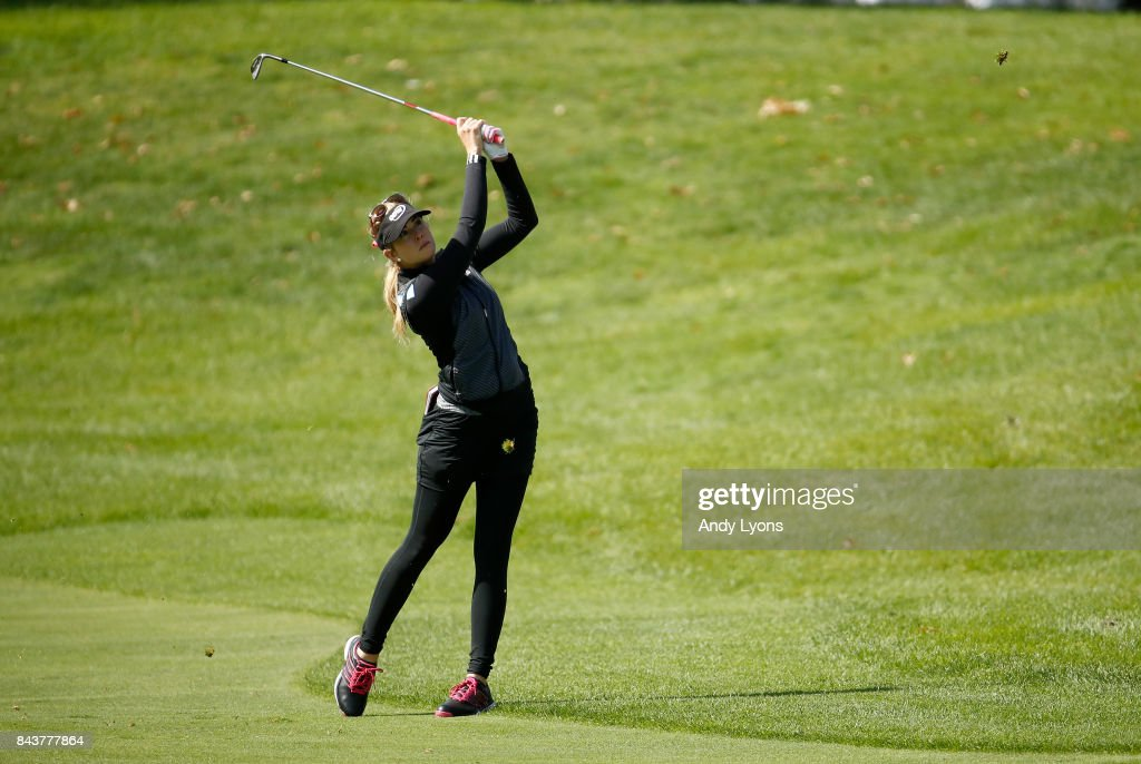Paula Creamer hits her second shot on the 9th hole during the first round of the Indy Women In Tech Championship-Presented By Guggenheim at the Brickyard Crossing Golf Course on September 7, 2017 in Indianapolis, Indiana.