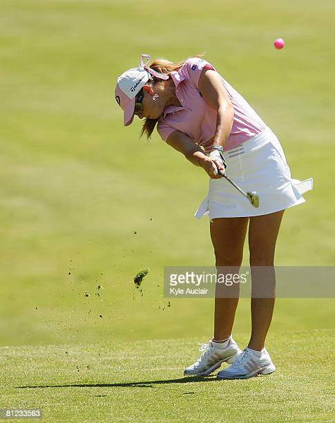 Paula Creamer hits her second shot on the eighth hole during the final round of the LPGA Corning Classic at Corning Country Club on May 25 2008 in...