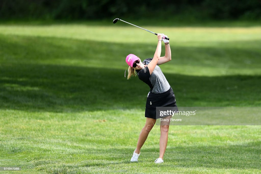 Paula Creamer hits her second shot on the first hole during the first round of the Meijer LPGA Classic for Simply Give at Blythefield Country Club on June 14, 2018 in Grand Rapids, Michigan.