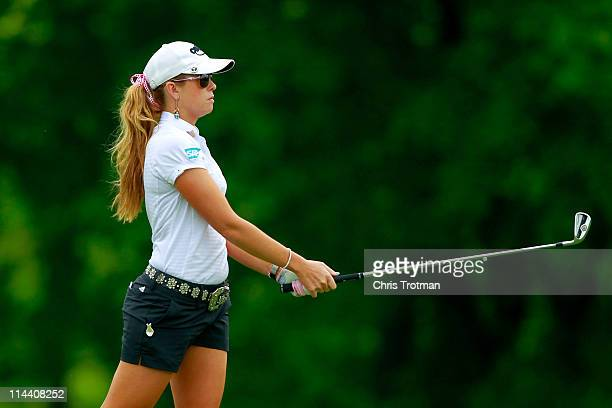 Paula Creamer hits her second shot to the first hole during round one of the Sybase Match Play Championship at Hamilton Farm Golf Club on May 19 2011...