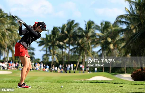 Paula Creamer hits her tee shot on the fifth hole during the third round of the ADT Championship at the Trump International Golf Club on November 22...