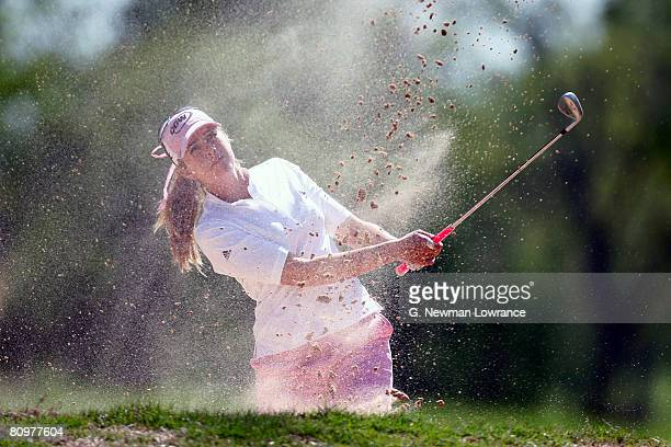 Paula Creamer hits out of a bunker on the 18th hole during the third round of the SemGroup Championship presented by John Q Hammons on May 3 2008 at...