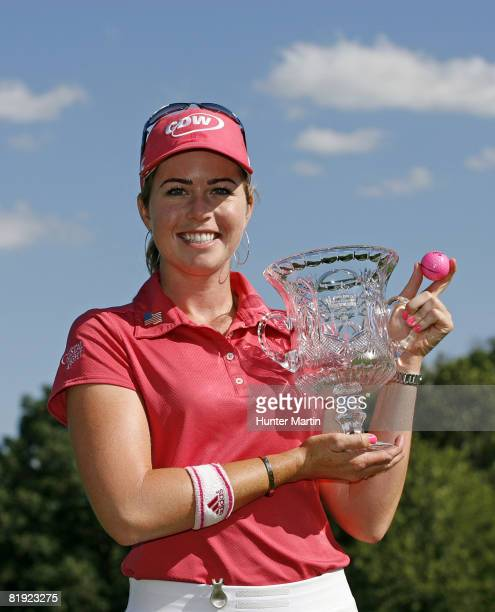 Paula Creamer holds the championship trophy after winning the Jamie Farr Owens Corning Classic at Highland Meadows Golf Club on July 13 2008 in...