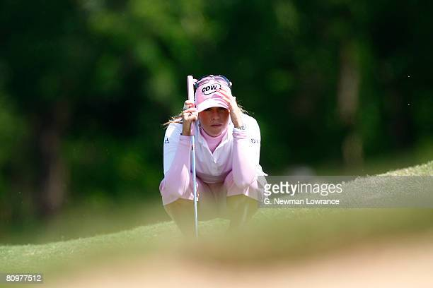 Paula Creamer lines up a putt on the 15th hole during the third round of the SemGroup Championship presented by John Q Hammons on May 3 2008 at Cedar...