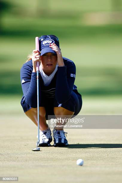 Paula Creamer lines up a putt on the 6th hole during the second round of the SemGroup Championship presented by John Q Hammons on May 2 2008 at Cedar...