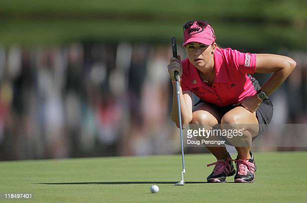Paula Creamer lines up a putt on the fourth hole during the continuation of the first round of the U.S. Women's Open at The Broadmoor on July 8, 2011...