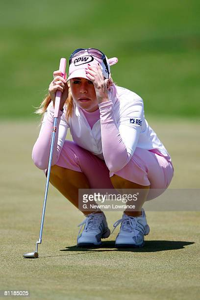 Paula Creamer lines up her putt during the third round of the SemGroup Championship presented by John Q Hammons on May 3 2008 at Cedar Ridge Country...