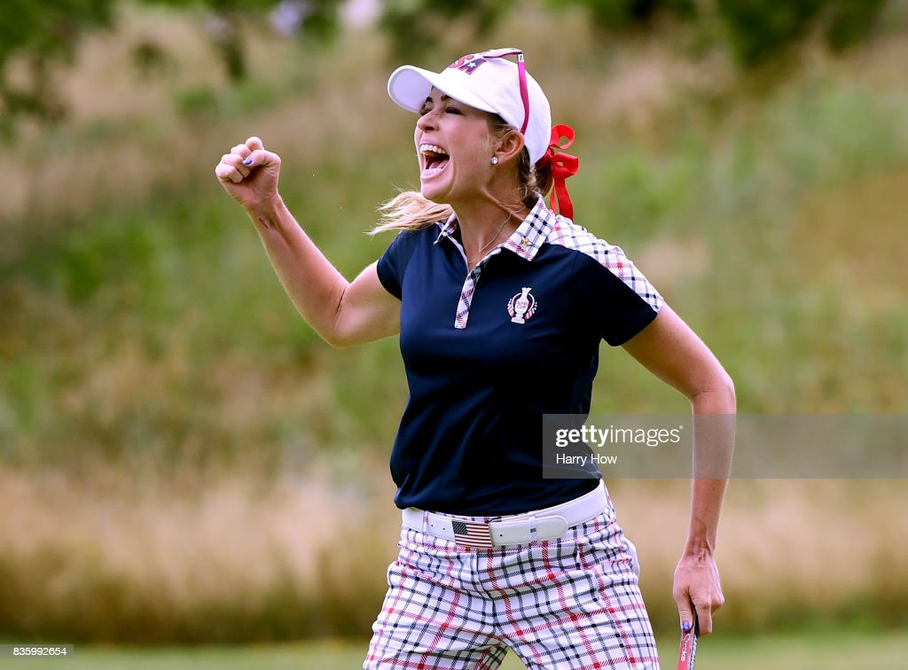 Paula Creamer of Team USA celebrates birdie on the 10th green during the final day singles matches of the Solheim Cup at the Des Moines Golf and Country Club on August 20, 2017 in West Des Moines, Iowa.