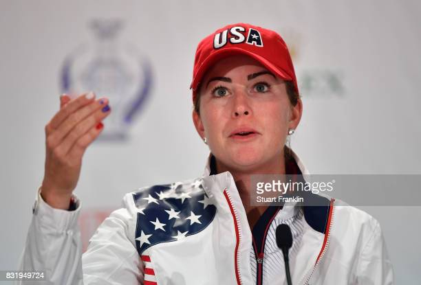 Paula Creamer of Team USA talks to the media during a press conference for The Solheim Cup at the Des Moines Country Club on August 15 2017 in West...