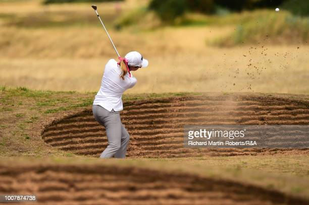 Paula Creamer of the United States hits a bunker shot on the 4th hole during final qualifying for the Ricoh Women's British Open at St Annes Old...