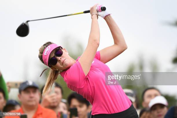 Paula Creamer of the United States plays a shot the final round of the Buick LPGA Shanghai 2018 at Shanghai Qizhong Garden Golf Club on October 21...