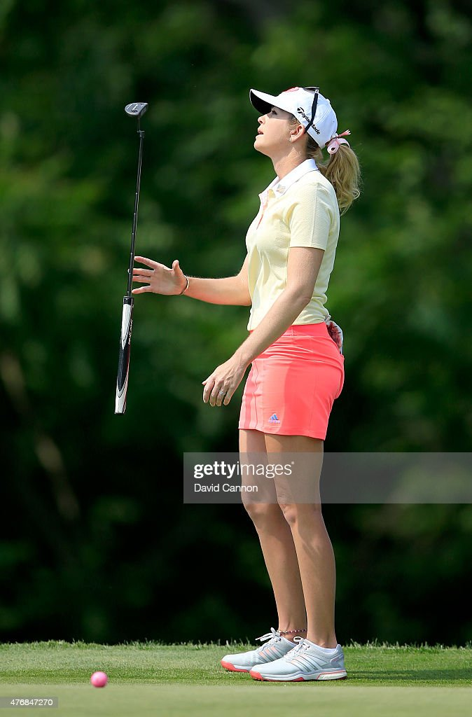 Paula Creamer of the United States reacts to just missing a biridie putt on the par 4, 10th hole during the second round of the 2015 KPMG Women's PGA Championship on the West Course at Westchester Country Club on June 12, 2015 in Harrison, New York.