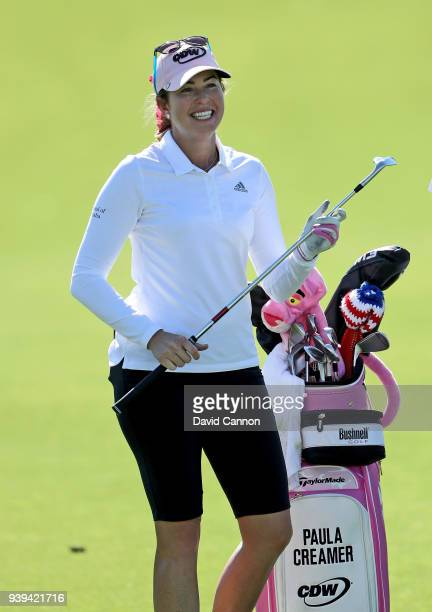 Paula Creamer of the United States waits to play a shot during the proam as a preview for the 2018 ANA Inspiration on the Dinah Shore Tournament...