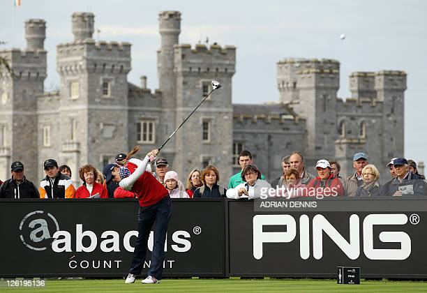 Paula Creamer of the US drives off the 10th hole during the foursomes match against Europe's Karen Stupples and Mel Reid during Day One of The...