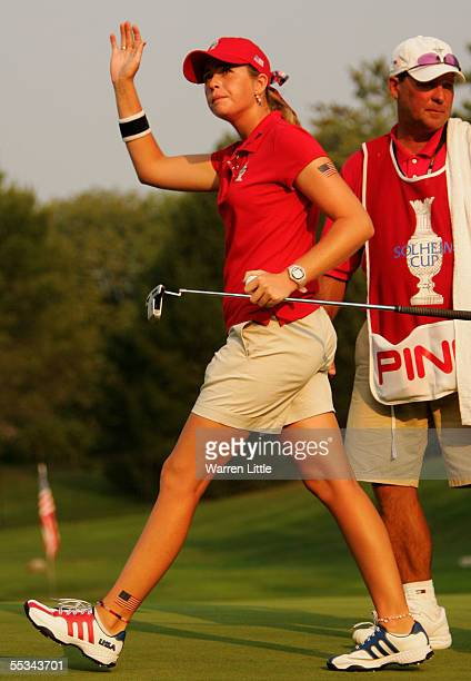 Paula Creamer of the USA acknowledges the crowd on the 12th green during the Saturday Fourball matches of the 2005 Solheim Cup at Crooked Stick Golf...