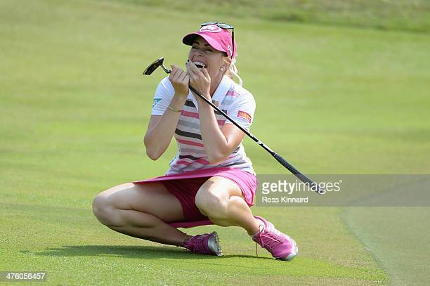 Paula Creamer of the USA celebrates after holing an eagle putt to seal victory in a playoff against Azahara Munoz of Spain during the final round of...