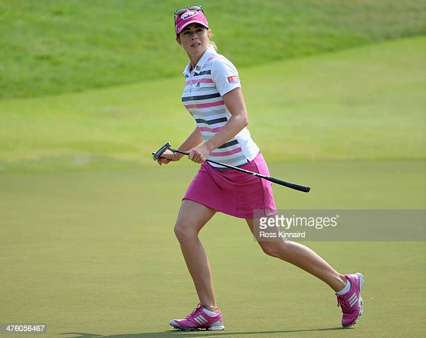 Paula Creamer of the USA celebrates after holing an eagle putt to seal victory in a play-off against Azahara Munoz of Spain during the final round of...