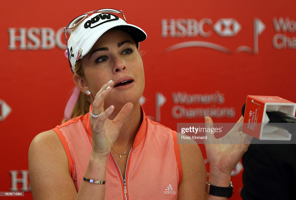 Paula Creamer of the USA during a press conference at the Sentosa Golf Club prior to the start of the HSBC Women's Champions at the Sentosa Golf Club on February 26, 2013 in Singapore, Singapore.