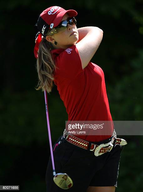 Paula Creamer of the USA hits her tee shot on the 3rd hole during the third round of the Evian Masters on July 26 2008 at the Evian Masters Golf Club...