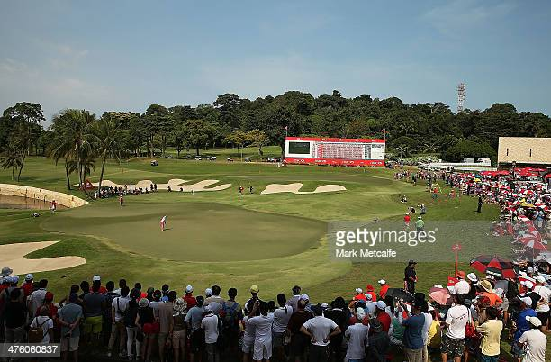 Paula Creamer of the USA holes an eagle putt to seal victory in a play-off against Azahara Munoz of Spain during the final round of the HSBC Women's...