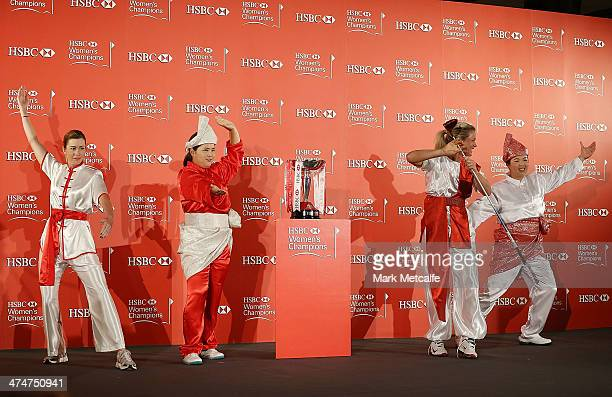Paula Creamer of the USA Inbee Park of South Korea Suzann Pettersen of Norway and Shanshan Feng of China strike a pose during a photocall at the...