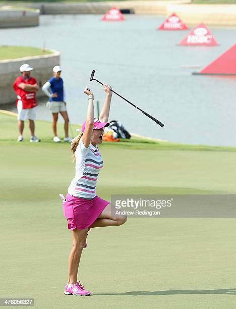 Paula Creamer of the USA jumps for joy after holing an eagle putt to seal victory in a playoff against Azahara Munoz of Spain during the final round...