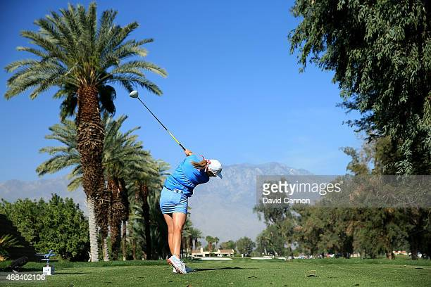 Paula Creamer of the USA plays her tee shot at the par 4, 15th hole during the first round of the ANA Inspiration on the Dinah Shore Tournament...
