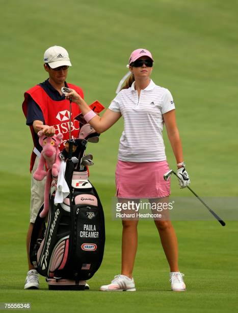 Paula Creamer of the USA selects a club from her bag during round one of the HSBC Women's World Match Play Championship at Wykagyl County Club on...