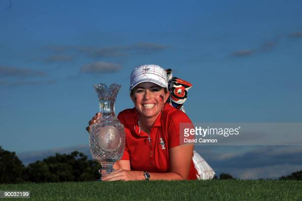Paula Creamer of the USA with the trophy after the Sunday singles matches at the 2009 Solheim Cup Matches at the Rich Harvest Farms Golf Club on...