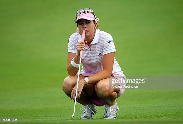 Paula Creamer of USA lines up a putt on the 17th hole during the final round of the HSBC Women's Champions at Tanah Merah Country Club on March 2...