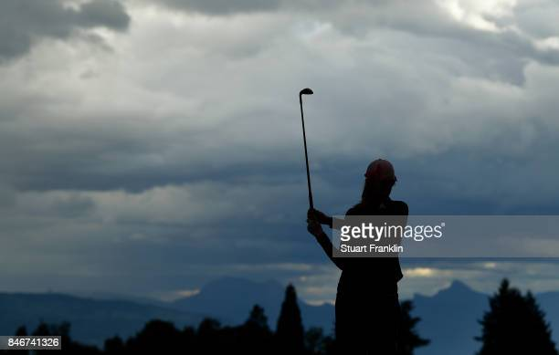 Paula Creamer of USA plays a shot during the first round of The Evian Championship at Evian Resort Golf Club on September 14 2017 in EvianlesBains...