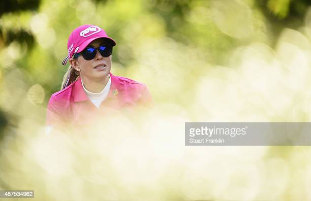 Paula Creamer of USA watches a shot during the first round of the Evian Championship Golf on September 10 2015 in EvianlesBains France