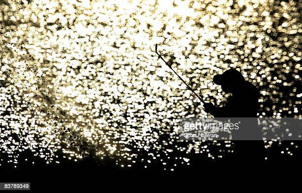 Paula Creamer plays a bunker shot on the 18th hole during the third round of the ADT Championship at the Trump International Golf Club on November 22...