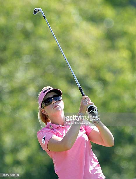 Paula Creamer plays a shot on the 13th hole during the continuation of round two of the 2010 US Women's Open at Oakmont Country Club on July 10 2010...
