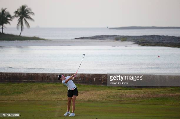 Paula Creamer plays her second shot on the eighth hole during the first round of the Pure Silk Bahamas LPGA Classic at the Ocean Club Golf Course on...