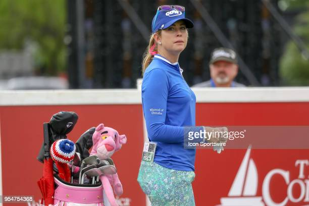 Paula Creamer prepares for her opening tee shot on during the First Round of the Volunteers of America Texas Classic on May 4 2018 at the Old...