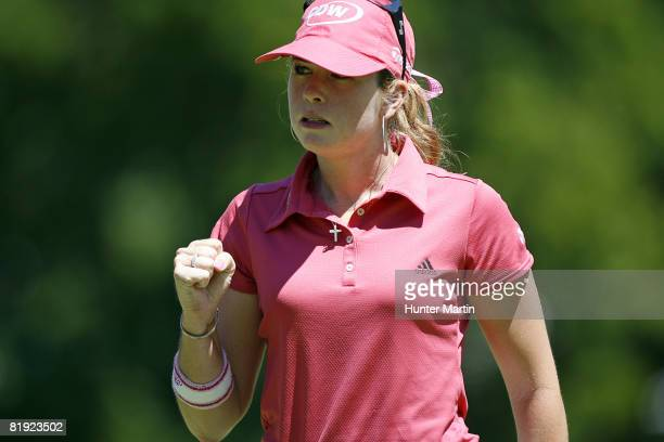 Paula Creamer reacts after making her putt on the 1st hole during the final round of the Jamie Farr Owens Corning Classic at Highland Meadows Golf...