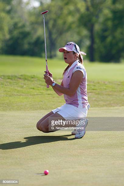 Paula Creamer reacts after missing a putt on the first playoff hole during the final round of the SemGroup Championship presented by John Q Hammons...