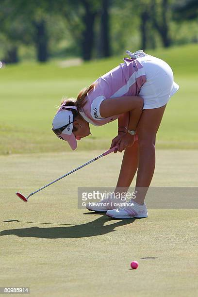 Paula Creamer reacts after missing a putt to win on the 18th hole during the final round of the SemGroup Championship presented by John Q Hammons on...
