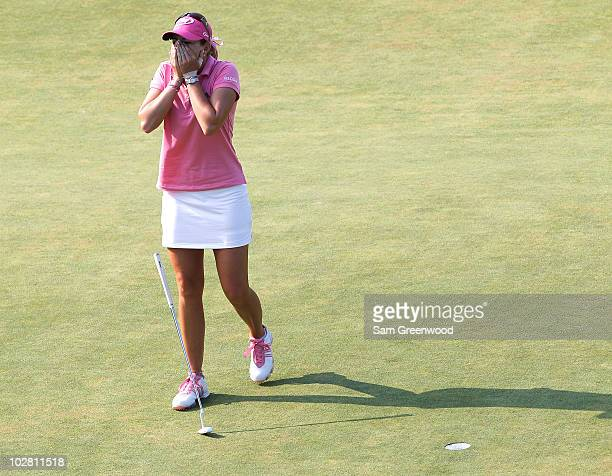 Paula Creamer reacts after winning during the 2010 US Women's Open at Oakmont Country Club on July 11 2010 in Oakmont Pennsylvania