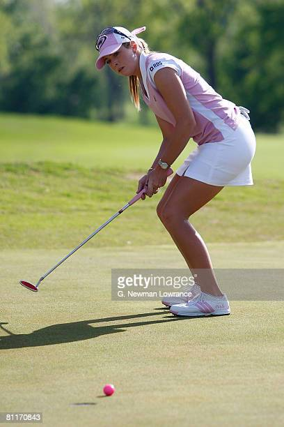 Paula Creamer reacts to her putt during the final round of the SemGroup Championship presented by John Q Hammons on May 4 2008 at Cedar Ridge Country...