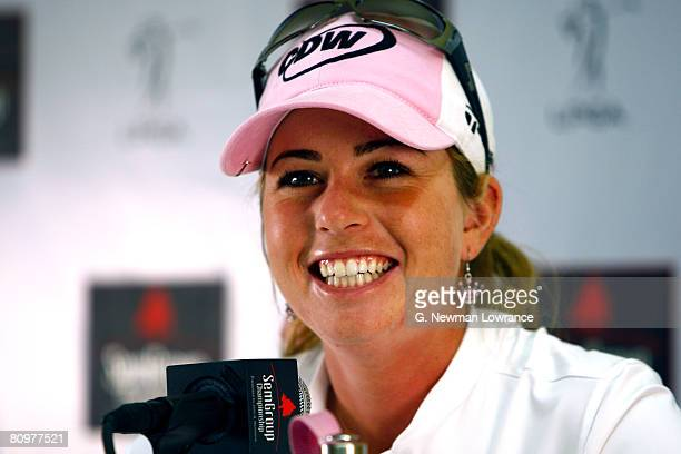 Paula Creamer smiles during an interview following the third round of the SemGroup Championship presented by John Q Hammons on May 3 2008 at Cedar...