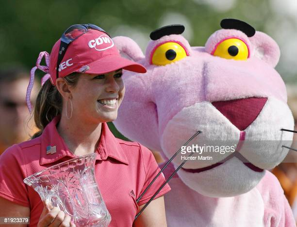 Paula Creamer stands with the Pink Panther after winning the Jamie Farr Owens Corning Classic at Highland Meadows Golf Club on July 13 2008 in...