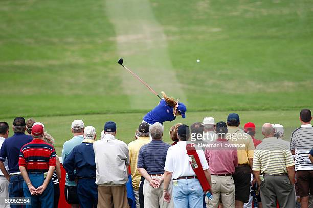 Paula Creamer tees off on the 12th hole during the first round of the SemGroup Championship presented by John Q Hammons on May 1 2008 at Cedar Ridge...