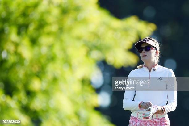 Paula Creamer waits on the third tee during the second round of the Meijer LPGA Classic for Simply Give at Blythefield Country Club on June 15 2018...