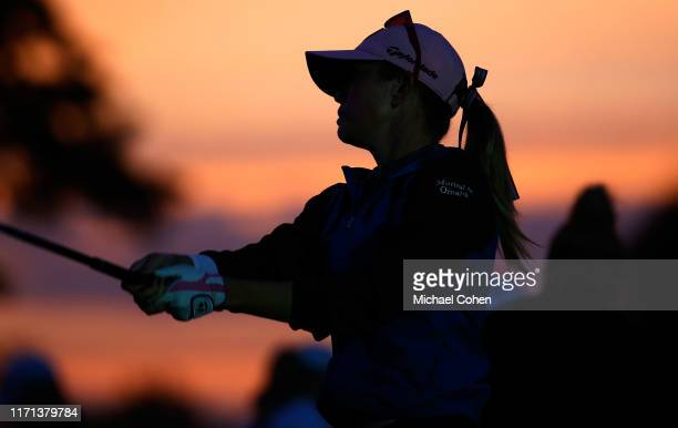 Paula Creamer warms up on the practice range at dawn prior to the first round of the Indy Women In Tech Championship Driven by Group 1001 held at the...