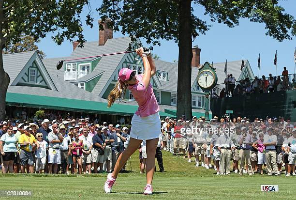 Paula Creamer watches her tee shot on the first hole during the final round of the 2010 US Women's Open at Oakmont Country Club on July 11 2010 in...