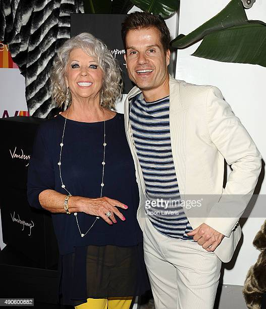 Paula Deen and Louis Van Amstel attend the EVINE Live celebration at Villa Blanca on September 29 2015 in Beverly Hills California