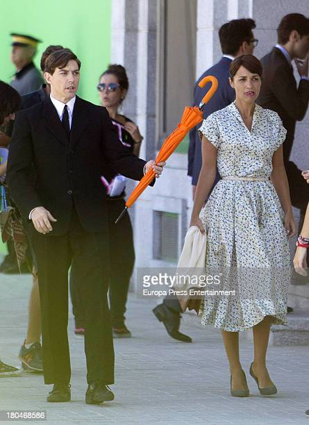 Paula Echevarria and Adrian Lastra are seen on set filming 'Galerias Velvet' on September 10, 2013 in Madrid, Spain.